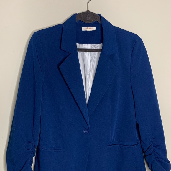 Women's Clothing Clothing, Shoes & Accessories Anthropologie Elevenses Ruched Sleeve Blazer Size S